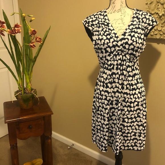 Laundry by Shelli Segal Womens Printed V-Neck Paperbag Waist Detail Dress